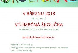 Školička u Budulínka se otevírá již v březnu 2018