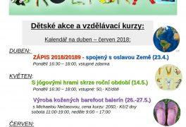 Zážitkové odpoledne spojené s OSLAVOU ZEMĚ a ZÁPISEM pro šk. rok 2018/2019