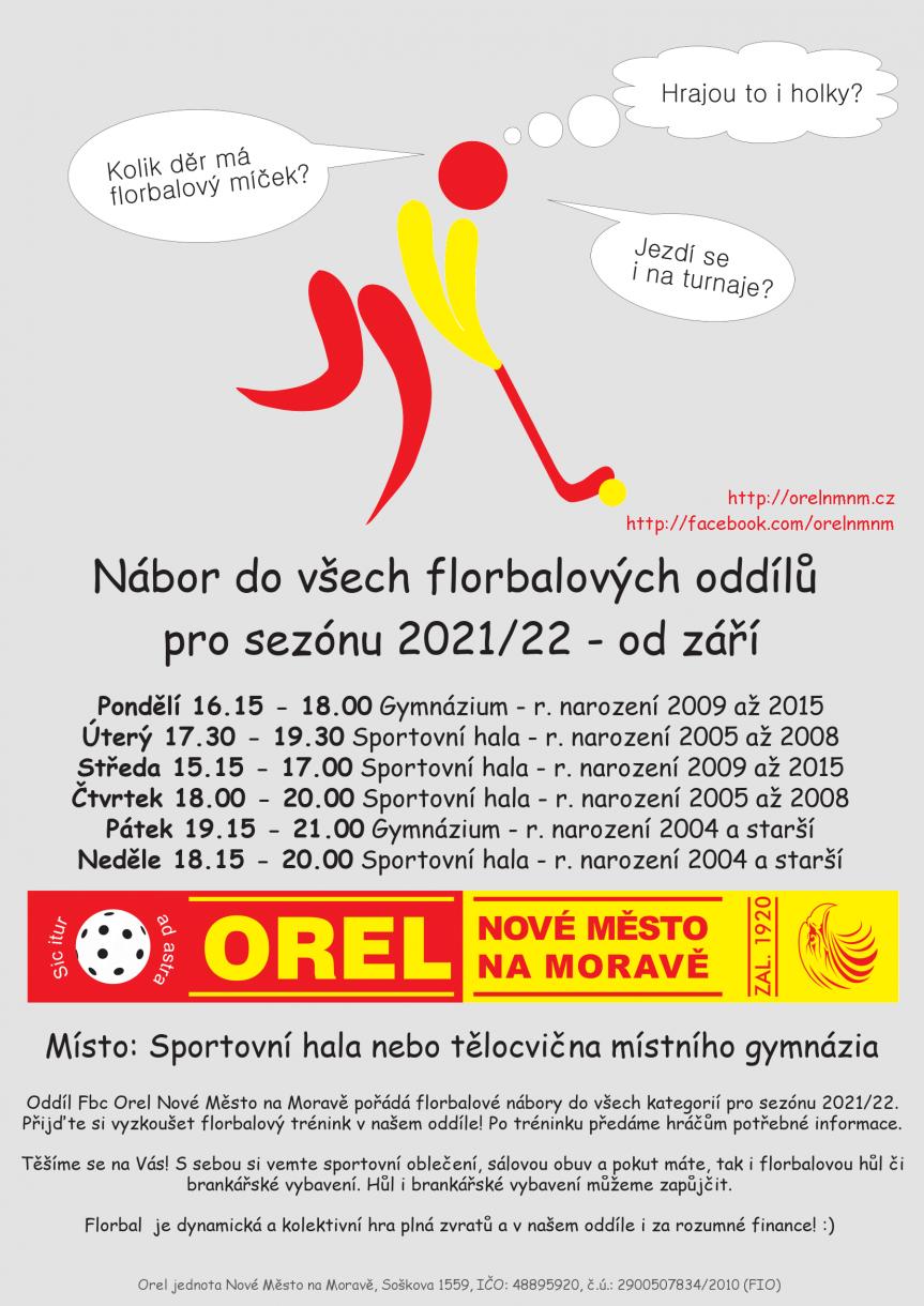Florbalový NÁBOR (čtvrtek) – ročníky 2005 až 2008